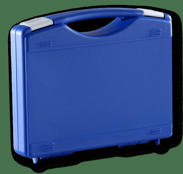 blauwe kunstof koffer