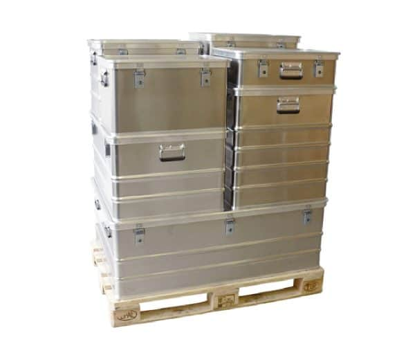 8 aluminium kisten stapelbaar op euro pallet